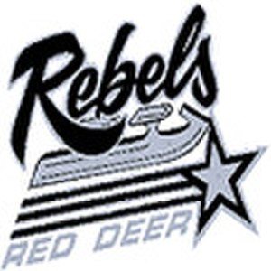 "Red Deer Rebels - Original Rebels ""Skate"" logo, used 1992-1997."