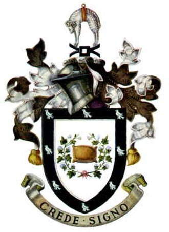 Rochdale - The coat of arms of the former Municipal, and later County Borough of Rochdale council, granted 20 February 1857. The arms incorporate references to Rochdale's early industries and lords.