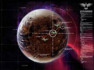 Warhammer 40,000: Dawn of War - The planet Tartarus as shown from high orbit.