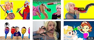 "Elsagate - Thumbnails of ""Elsagate"" content are usually represented by recognizable family-friendly characters with neon backgrounds performing bizarre or inappropriate actions."