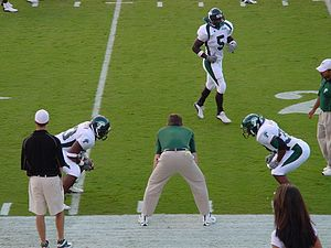 Tulane players warming up for a game against Texas