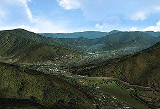 Wainuiomata - A view of Wainuiomata as seen from above Sunny Grove looking North.