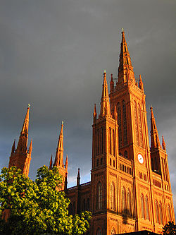 The Marktkirche's neo-Gothic steeple dominates the center of Wiesbaden.