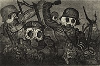 'Stormtroops Advancing Under Gas', etching and aquatint by Otto Dix, 1924. Dix was among the artists condemned as degenerate. The distorted bodies reflecting the horror, reality and despair of war, were at odds with the desire to glorify the martial vigor and confidence of the German people.