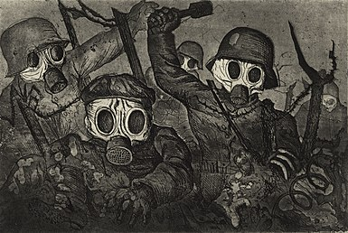 'Stormtroops Advancing Under Gas', etching and aquatint by Otto Dix, 1924