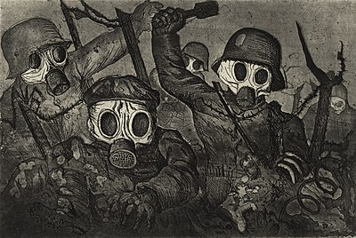 Stormtroopers Advancing Under Gas, etching and aquatint by Otto Dix, 1924