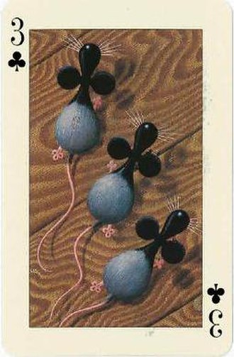 Transformation playing card - Three Blind Mice as portrayed on the 3 of Clubs from The Key to the Kingdom