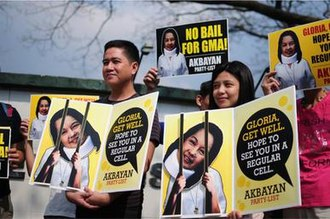 Akbayan - Akbayan members protesting granting of bail for former President Gloria Macapagal-Arroyo for plunder charges