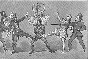Harlequinade - Illustration of the Harlequinade in The Forty Thieves (1878), showing Swell, Pantaloon, Harlequin, Columbine (above), Clown and Policeman