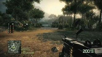 Battlefield: Bad Company 2 - Screenshot of Battlefield: Bad Company 2's multiplayer mode. The player is armed with an M249 light machine gun.