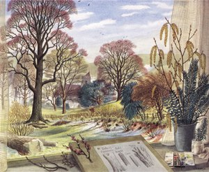 Stanley Roy Badmin - February, one of Badmin's illustrations for the Shell Guide to Trees and Shrubs, showing his characteristic treatment of landscape and of trees