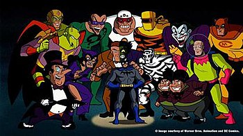Several Of Batmans Enemies Seen Alongside Bat Mite In The Batman Brave And Bold Television Series