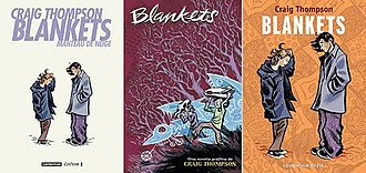 Blankets (comics) - Covers of the French, Spanish and Italian editions of Blankets (from left to right)
