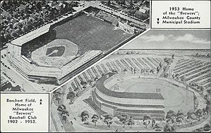 "Milwaukee County Stadium - Postcard advertising the upcoming ""Milwaukee County Municipal Stadium"""