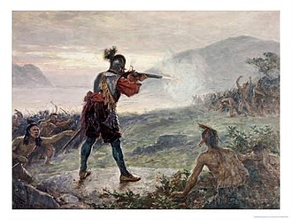Beaver Wars - Algonquin and Huron tribes defeat an Iroquois war-party of Mohawks and Onondagas with French assistance near Lake Champlain, upstate New York in 1609