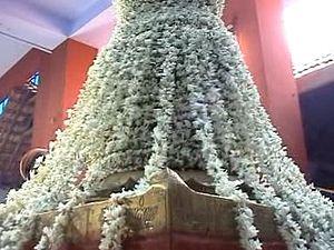 Kodiyettru Thirunal - The decorated Flagmast pedestal after the flag hoisting ceremony in Swamithoppe.
