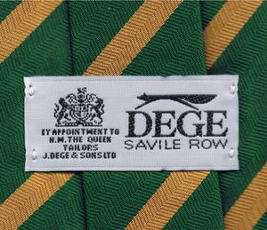 Dege & Skinner - Image: Dege of Savile Row's logo & label on the back of a neck tie