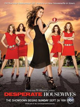 Desperate Housewives (season 7) - ABC promotional poster for the seventh season of Desperate Housewives. From left to right: Lynette, Susan, Renee, Gabrielle, and Bree.