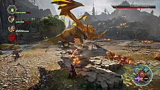 Dragon Age: Inquisition - A gameplay screenshot showing the player-controlled Inquisitor (middle) using their ability to manipulate Fade rifts. Also shown are the radial abilities menu on the bottom-right, party icons on the top-left, and a minimap of the level on the bottom-left.