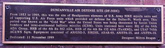 Duncanville, Texas - Plaque describing NIKE base.