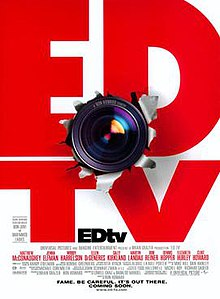 ED TV written in large red letters. A camera lens has burst through the middle of the poster.