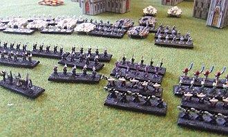 Epic (game) - A game of Epic Armageddon between Imperial Guard and Eldar forces.