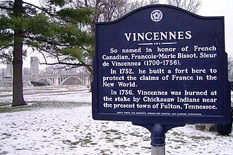 François-Marie Bissot, Sieur de Vincennes - Historical marker in Vincennes, Indiana