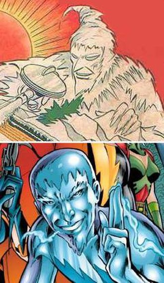 Icicle (comics) - Joar Mahkent (top) and Cameron Mahkent (bottom). Respective arts by Irwin Hasen and Alan Davis.