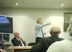 Reg Empey - Reg Empey and John White at the Ulster Unionist Party Executive Committee during the Leader's address. In the foreground is Roy Beggs