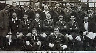 Vic Armbruster - Armbruster back row 2nd player from right, with the Kangaroos 1st Test, 5 October 1929