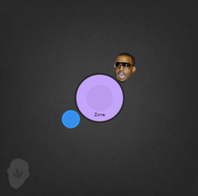 A gray square with a purple circle at the center: a smaller blue circle is below it on the left, and a small image of Kanye West's head is at its top right.