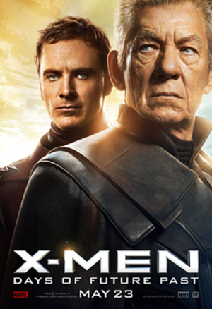 Magneto in other media - Sir Ian McKellen and Michael Fassbender as old and young Magneto, respectively, in a promotional poster for X-Men: Days of Future Past