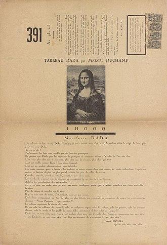 L.H.O.O.Q. - Marcel Duchamp, 1919, L.H.O.O.Q., published in 391, n. 12, March 1920