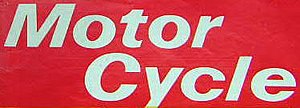 The Motor Cycle - Example front cover Masthead logo of Title changed to Motor Cycle and change of colour away from just blue.
