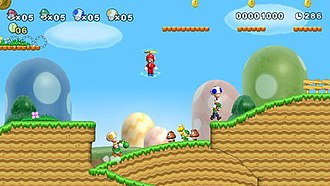 New Super Mario Bros. Wii - New Super Mario Bros. Wii is the first entry in the Super Mario series to feature simultaneous 4-player platforming gameplay. In this early screenshot of the game from E3 2009, players are able to pick up and carry each other, as Luigi is doing with Blue Toad.