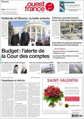 Ouest-France - Front page, 12 February 2014