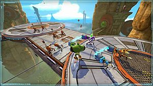 Ratchet & Clank: All 4 One - Ratchet, Clank, Qwark and Doctor Nefarious fighting together against a swarm of robots.