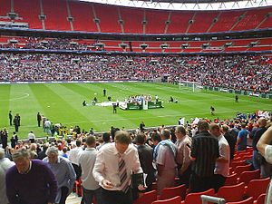 Stevenage F.C. - Stevenage players celebrating winning the FA Trophy at Wembley Stadium in May 2009