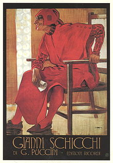 "Against a yellow background, a jovial man, dressed all in red medieval clothing and holding a small scroll, sits in a large basic wooden chair. Underneath, in poster-style lettering, is ""Gianni Schicchi"", and below are the words ""G. Puccini"" and ""Edizioni Ricordi"""