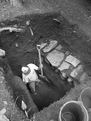 Chocolá - Excavation of stone drains at Chocolá