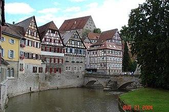 Schwäbisch Hall - Houses in the centre of Schwäbisch Hall, next to the river Kocher.