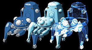 Tachikoma - A 3D model of a Tachikoma unit. Throughout the animated series, Tachikoma characters were rendered by 3D software using a shader that mimics hand-drawn art. This method simplified the task of animating detailed robotic characters. The right-most image is a wire frame of the 3D model; the middle image is the Tachikoma model rendered with generic materials and lighting; the left-most image is the character as it appears in the series.