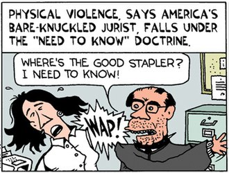 "Ted Rall - A panel from a Ted Rall cartoon satirizing Antonin Scalia's remark that he saw nothing wrong with ""slapping"" terrorism suspects."