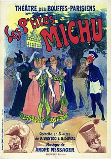 Theatre poster showing brightly-dressed and jovial men and women at a garden party