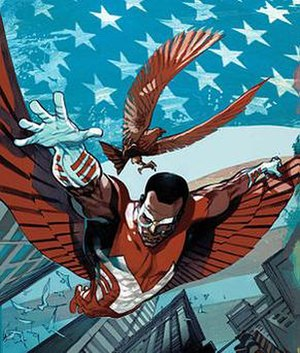 Falcon (comics) - Sam Wilson as Falcon, accompanied by Redwing