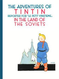 Tintin and Snowy are standing against classic Russian architecture.