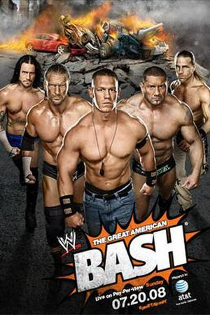 The Great American Bash (2008) - Promotional poster featuring CM Punk, Triple H, John Cena, Batista, and Shawn Michaels