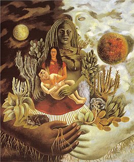 <i>The Love Embrace of the Universe, the Earth (Mexico), Myself, Diego, and Señor Xolotl</i> Painting by Frida Kahlo