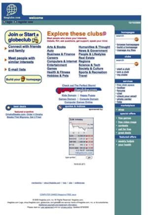 TheGlobe.com - theglobe.com screenshot (12-15-2000)