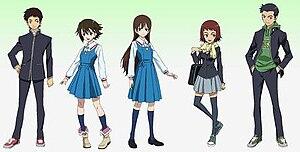 True Tears (anime) - True Tears main characters (from left to right): Shin'ichirō, Noe, Hiromi, Aiko, and Miyokichi.